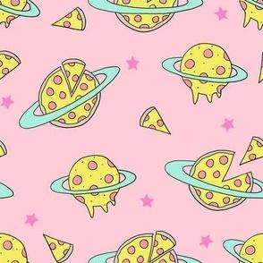 pizza planet fabric - pizza planet, pizza fabric, planet fabric, space fabric, cute kids fabric, novelty fabric - andrea lauren -  pastel pink