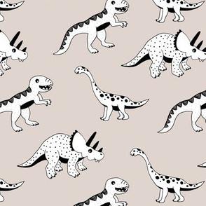 Cool dinosaur friends Scandinavian style vintage illustration kids history print beige gender neutral