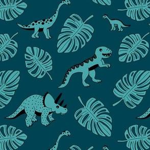 Cool jungle dinosaurs Scandinavian style vintage illustration kids history print dark blue night