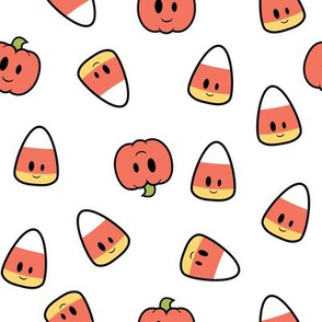 Kawaii Candy Corn and Pumpkin Design