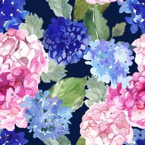 Spring Hydrangea Watercolor // Navy