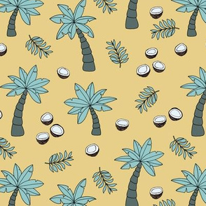 Tropical summer garden palm trees and coconuts surf beach theme yellow green
