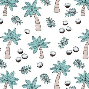 Tropical summer garden palm trees and coconuts surf beach theme green mint spring