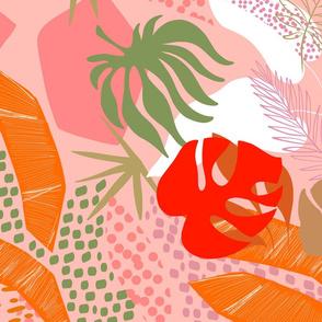 Tropical Foliage - Boho Pink and Solar Orange