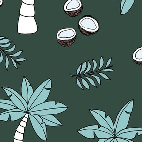Tropical summer garden palm trees and coconuts surf beach theme green blue night JUMBO