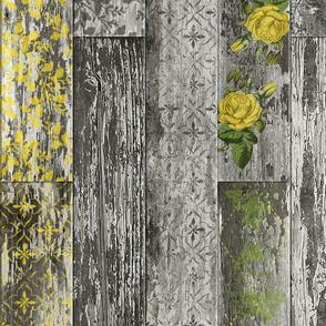 Vintage Wood Tiles Yellow Green Black White Grey Random