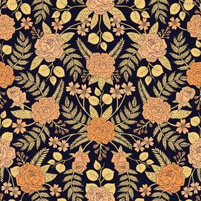 Peach, Pale Orange, Yellow & Dark Navy Blue Floral Pattern