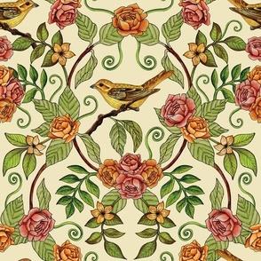 Yellow Bird Pattern w/ Pink & Orange Roses, Green Leaves & Ferns