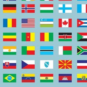 Modern Flags on Blue Gray