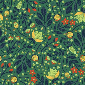 Teal, Pale Green, Dark Blue, Yellow & Orange Floral Pattern