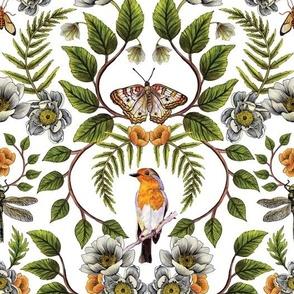 Spring Reflection - Floral/Botanical Pattern w/ Birds, Moths, Dragonflies & Flowers