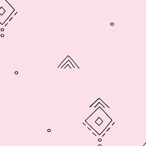 Geometric minimal indian summer mudcloth abstract aztec kilim design pink JUMBO