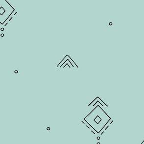 Geometric minimal indian summer mudcloth abstract aztec kilim design mint green JUMBO