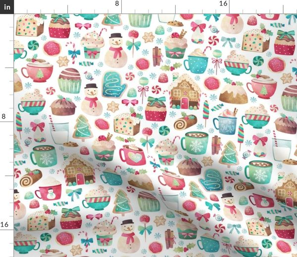 Christmas Sweets.Fabric By The Yard Watercolor Christmas Sweets