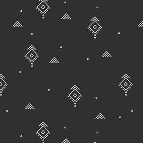Geometric minimal indian summer mudcloth abstract aztec kilim design charcoal gray