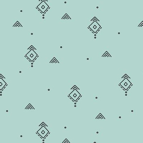 Geometric minimal indian summer mudcloth abstract aztec kilim design mint green