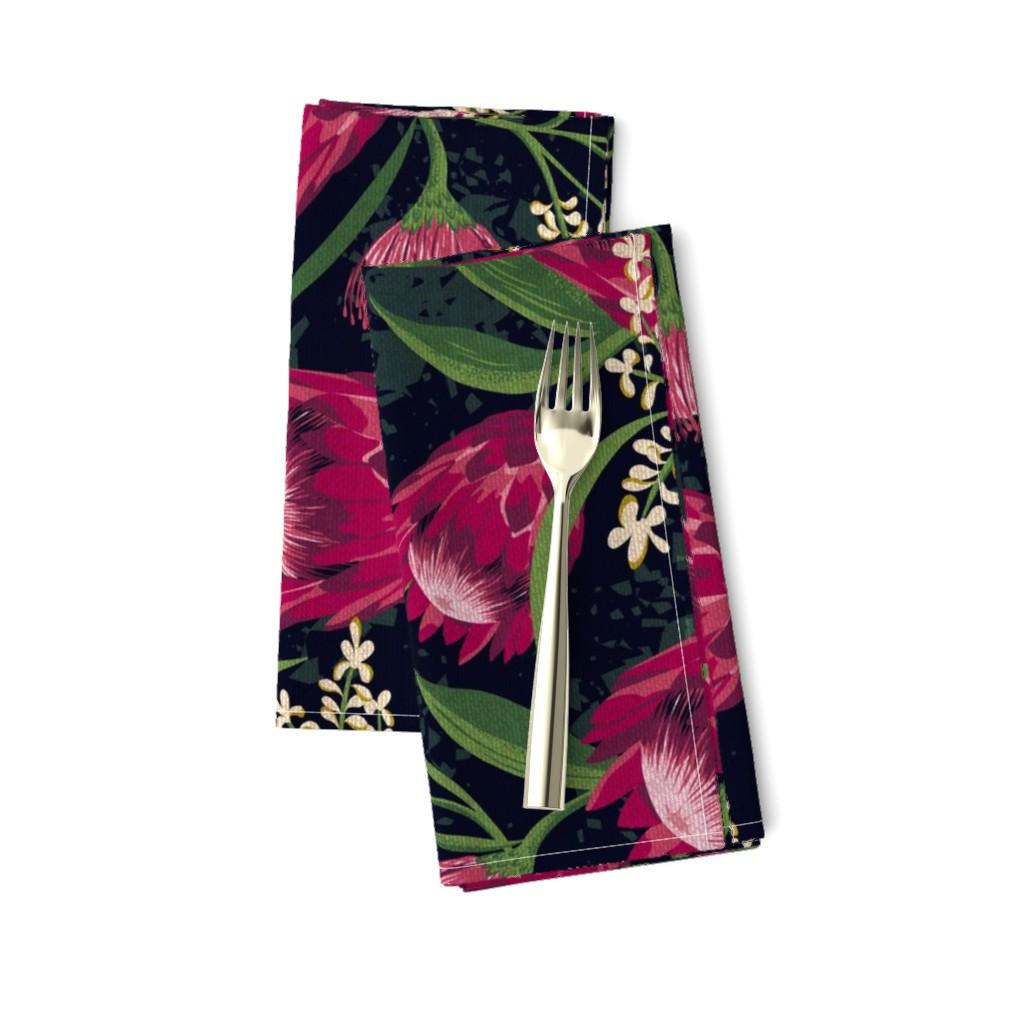 Amarela Dinner Napkins featuring Sugarbush - Protea Floral Black Jumbo Scale by heatherdutton