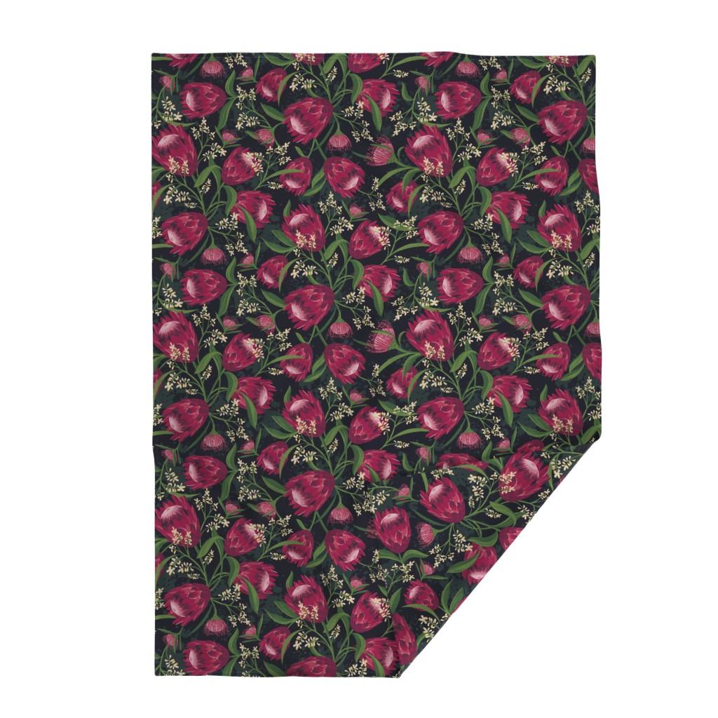 Lakenvelder Throw Blanket featuring Sugarbush - Protea Floral Black Large Scale by heatherdutton
