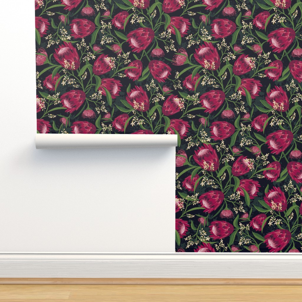 Isobar Durable Wallpaper featuring Sugarbush - Protea Floral Black Large Scale by heatherdutton