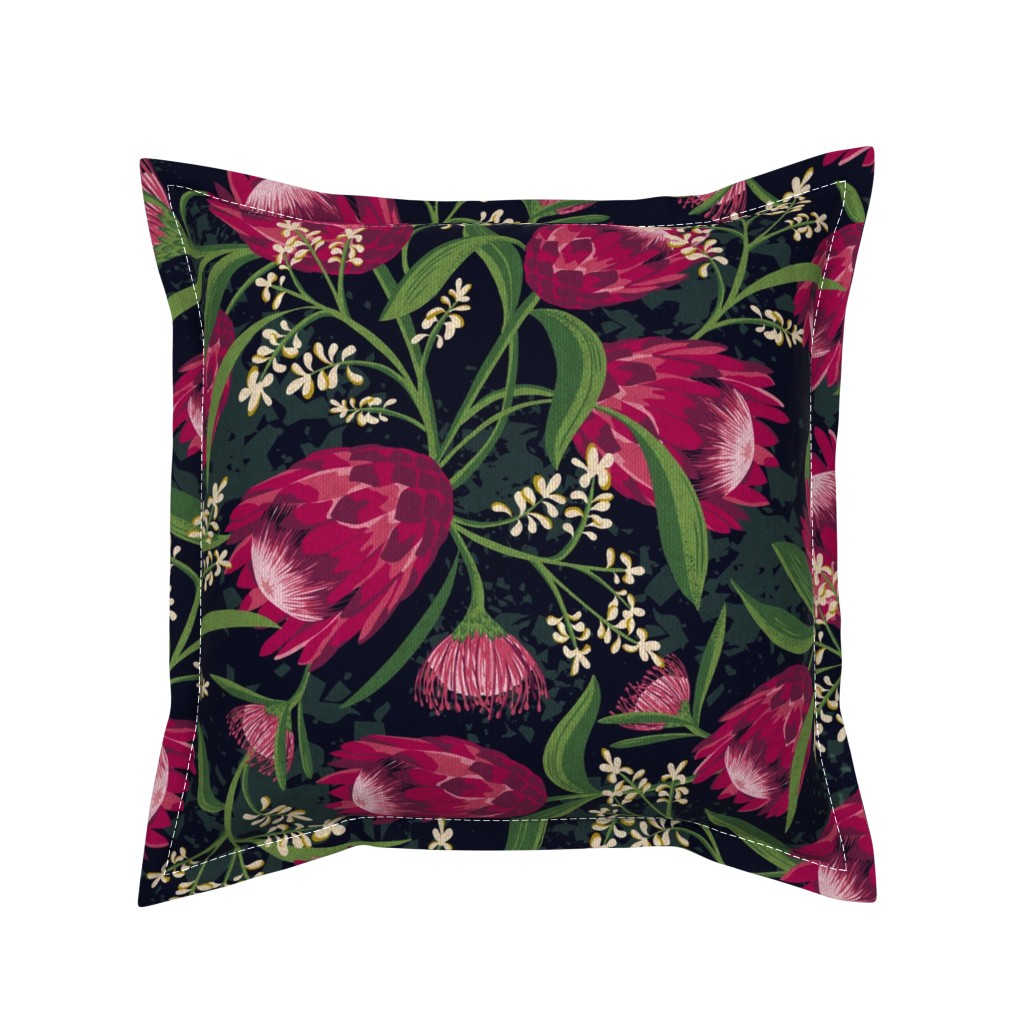 Serama Throw Pillow featuring Sugarbush - Protea Floral Black Large Scale by heatherdutton