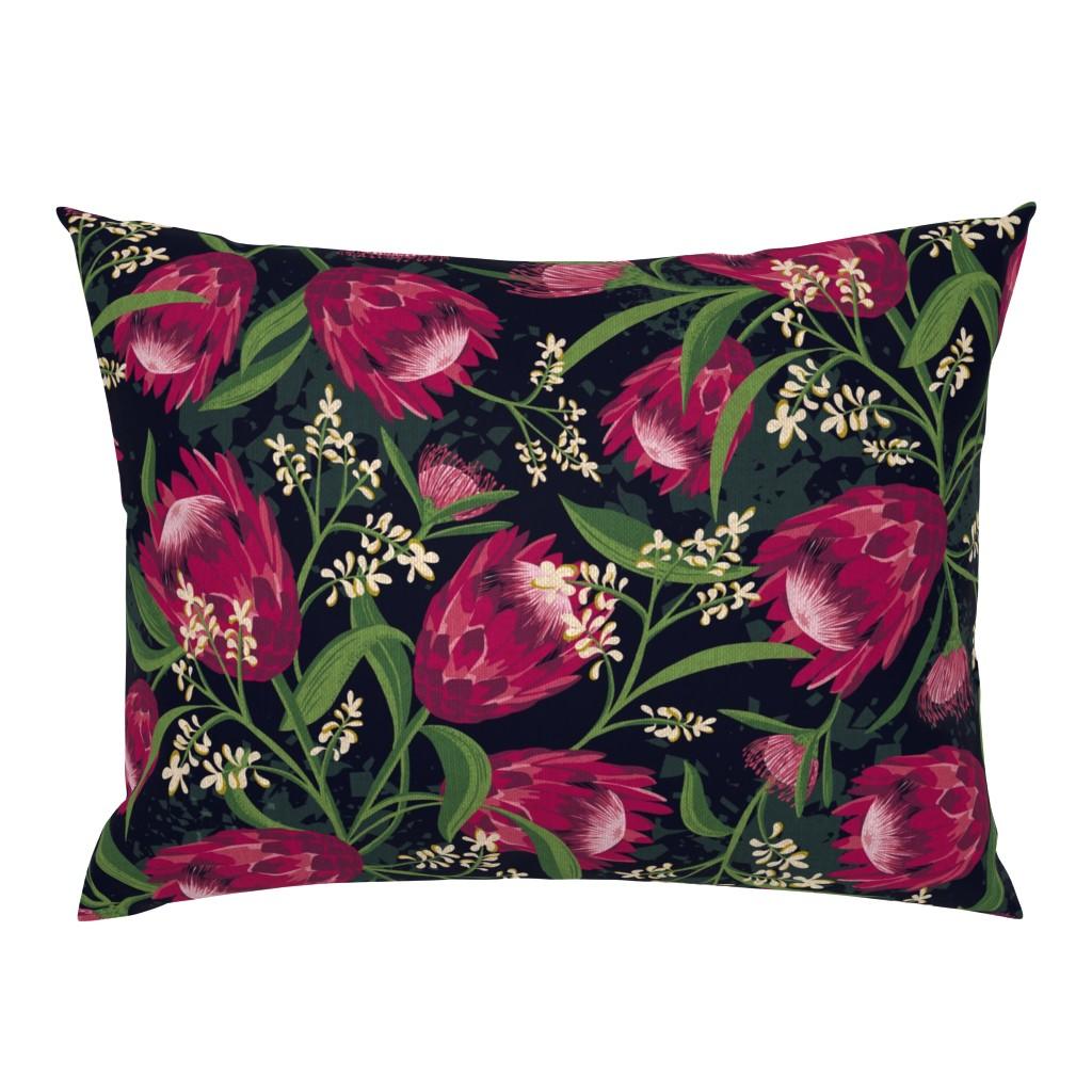 Campine Pillow Sham featuring Sugarbush - Protea Floral Black Large Scale by heatherdutton