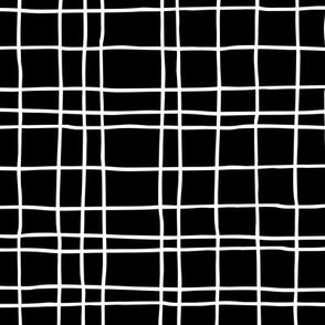 Minimal irregular stripes abstract linen lines geometric grid monochrome black and white
