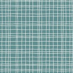 Minimal irregular stripes abstract linen lines geometric grid green SMALL