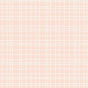 Minimal irregular stripes abstract linen lines geometric grid peach girls SMALL