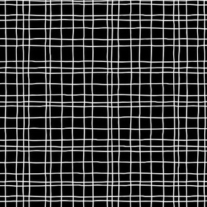 Minimal irregular stripes abstract linen lines geometric grid monochrome black and white SMALL