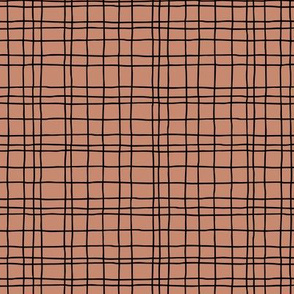 Minimal irregular stripes abstract linen lines geometric grid fall brown copper SMALL