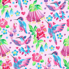 Humming Bird Garden Pink
