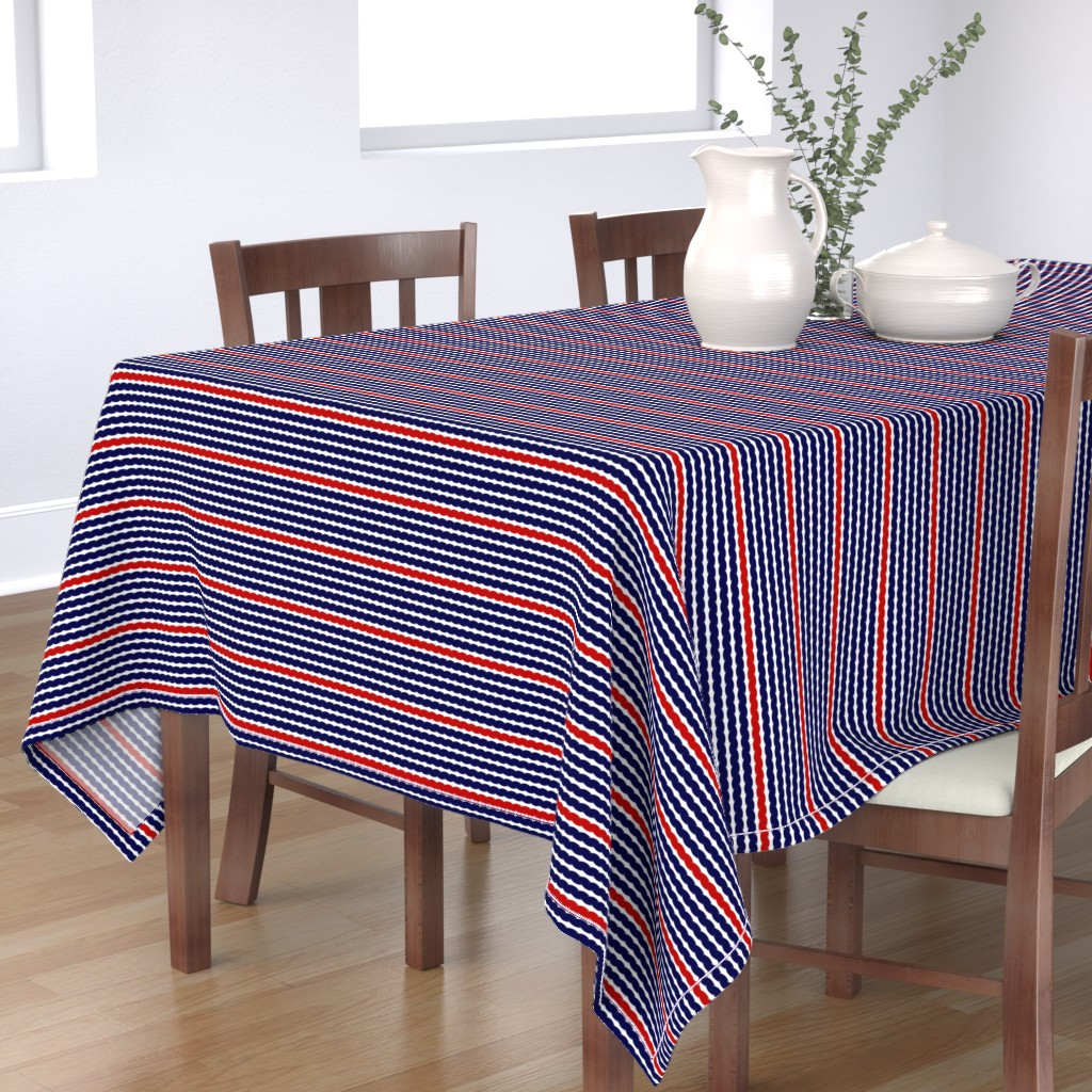 Bantam Rectangular Tablecloth featuring On the ropes - navy, red and white by dustydiscoball