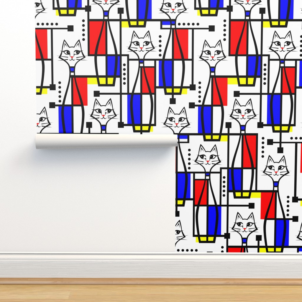 Isobar Durable Wallpaper featuring Modern Art Meow by studioxtine