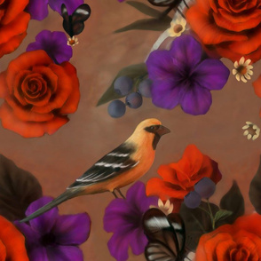 Altamira Oriole Bird & Rose Design