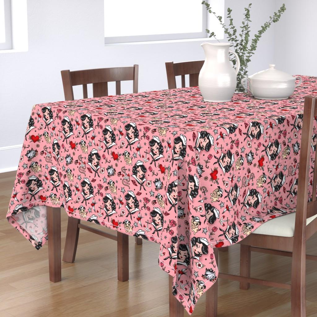 Bantam Rectangular Tablecloth featuring Large -Suzy Sailor Portrait - Pink by miss_fluff