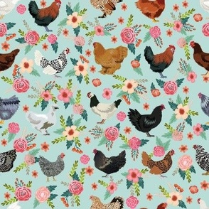 chicken breeds floral fabric - floral fabric, chicken fabric, chickens fabric, floral fabric, bird fabric, birds fabric - light blue