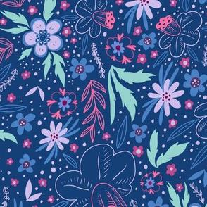 Happy Purple Floral Flowers