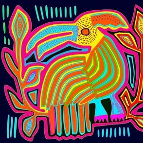 Panama Kuna Indian Mola Caribbean Parrot Quilt Square - Left Facing