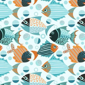 Blue Orange Fish Pattern