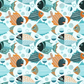 Blue Orange Fish Pattern