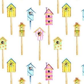 Birdhouses In Primary Colors