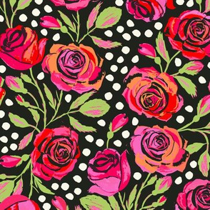Rockabilly Roses Dark (Small Scale)