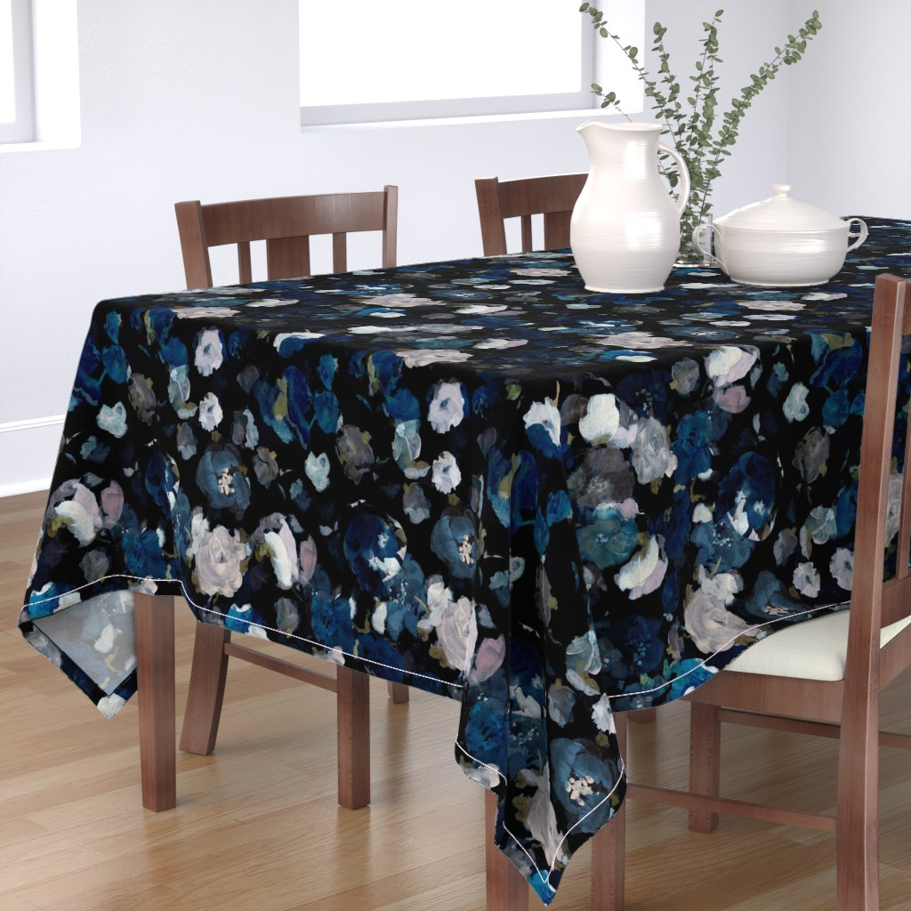 Bantam Rectangular Tablecloth featuring Moody Floral by jenflorentine
