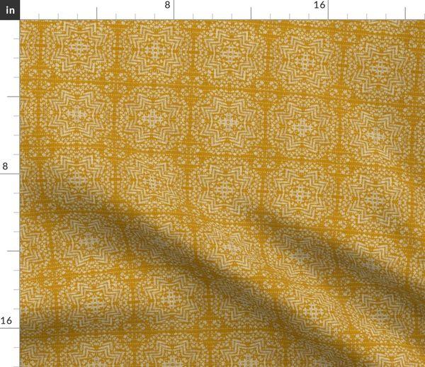 Stoff Meterware geometrisch, Holli Zollinger, gelb, französisch, Vintage, Leinen, Mosaik, Struktur
