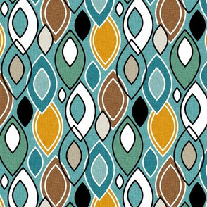 Mid Century Modern Leaves // Turquoise, Caribbean Blue, Marigold, Brown, Mint Green, Khaki, Tan, Black, White