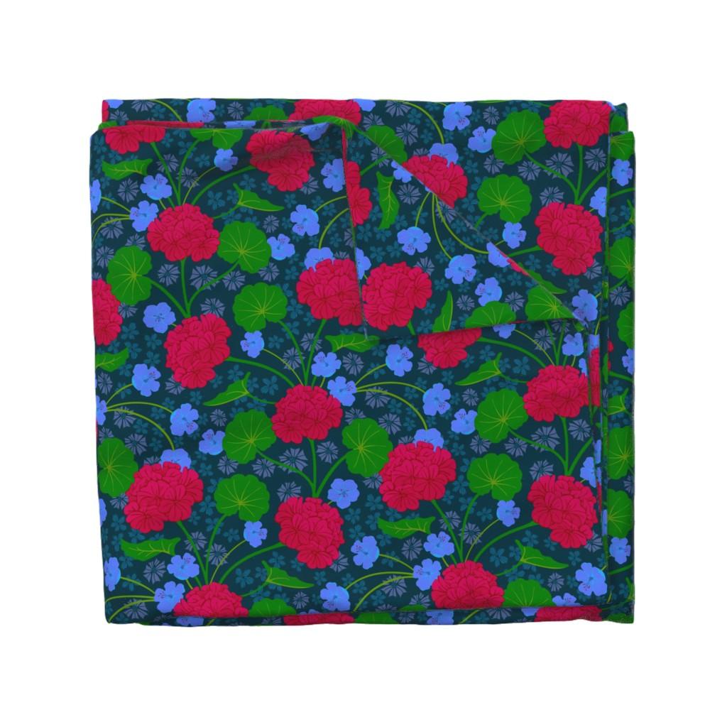 Wyandotte Duvet Cover featuring Geranium Moody Florals Deep Red Purple Green Dark Blue by unblinkstudio-by-jackietahara