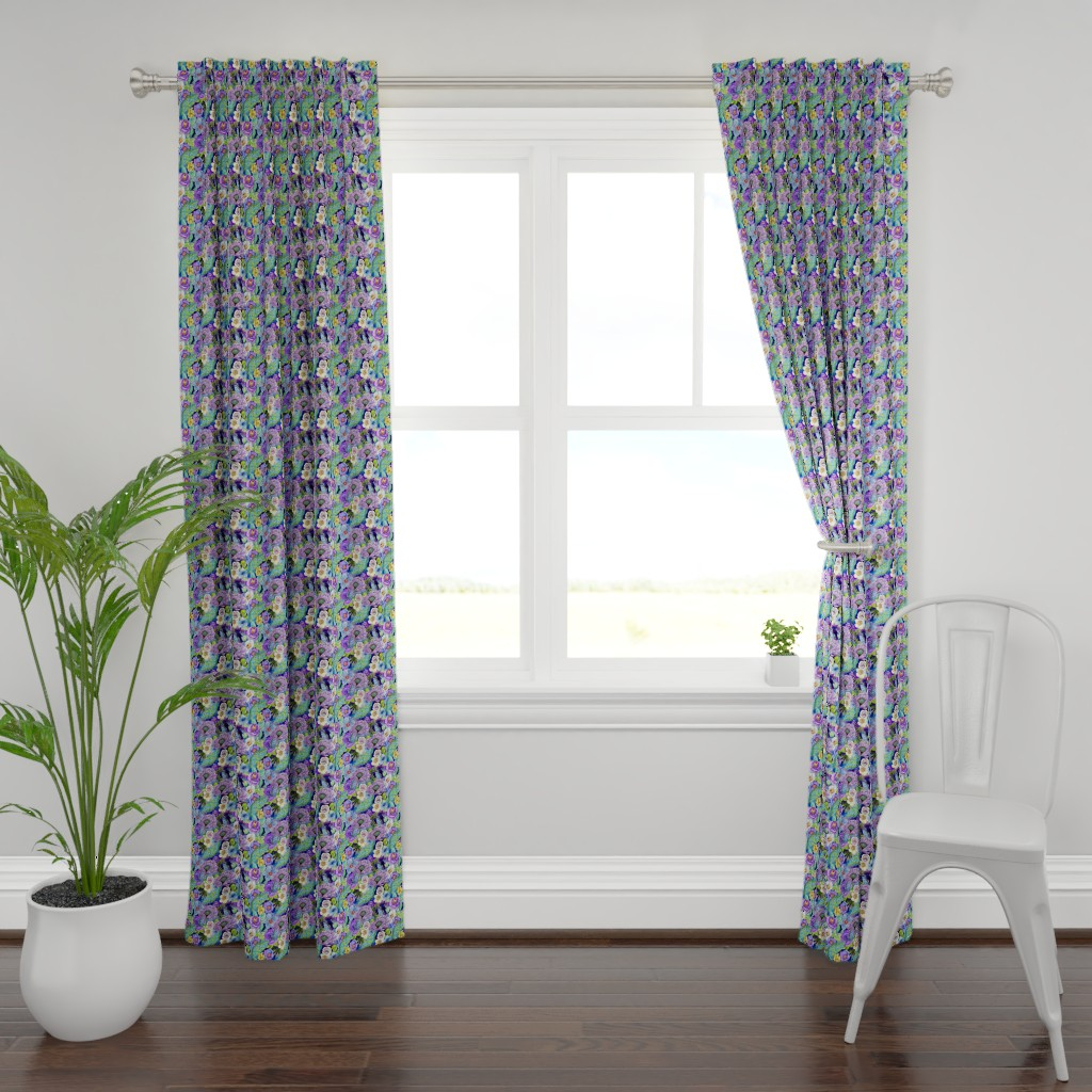 Plymouth Curtain Panel featuring  Smoky blue Blooms  by magentarosedesigns