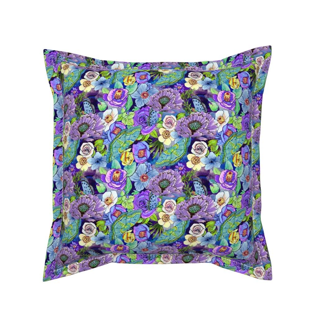 Serama Throw Pillow featuring  Smoky blue Blooms  by magentarosedesigns