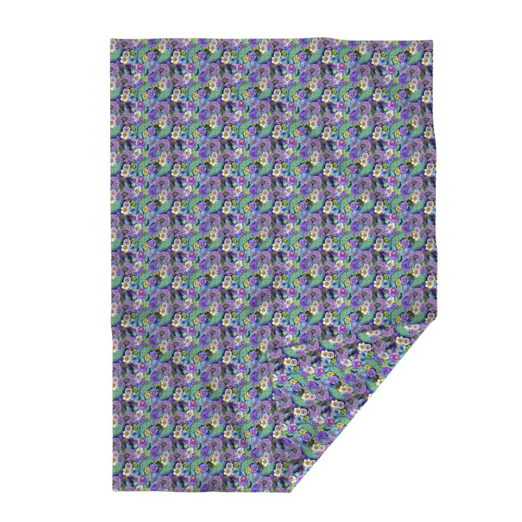 Lakenvelder Throw Blanket featuring  Smoky blue Blooms  by magentarosedesigns