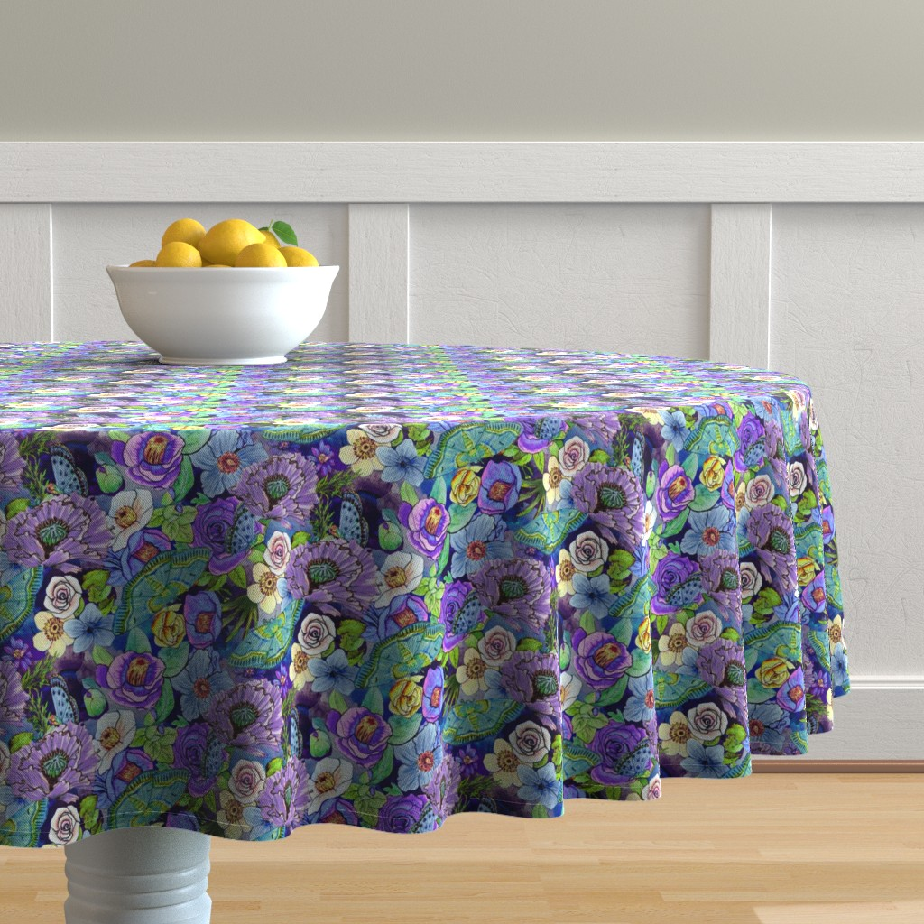Malay Round Tablecloth featuring  Smoky blue Blooms  by magentarosedesigns